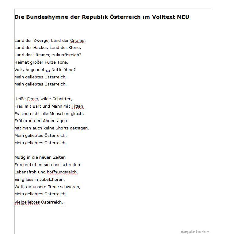 Österreichischen Bundeshymne im Volltext NEU