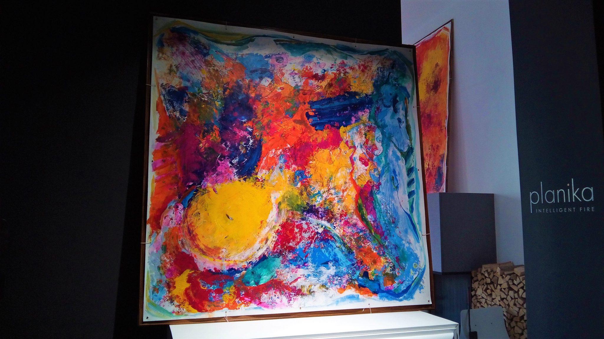 Kim Okura FALLING IN 1.55 x 1.55 meter, object painting, cycle Trophaeen