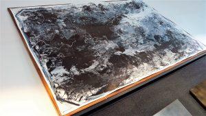 Kim Okura BIG GREY 1.55 x 2.30 meter, object painting, cycle Trophaeen