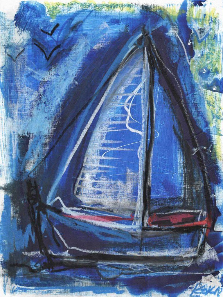 birds and boats cycle kim okura KOK painting blue