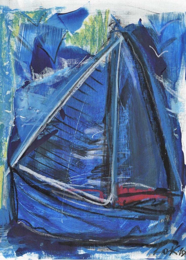 4 birds and boats cycle kim okura KOK painting blue