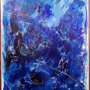 Kim Okura BIG BLUE 2.30 x 1.55 meter, object painting, cycle Trophaeen