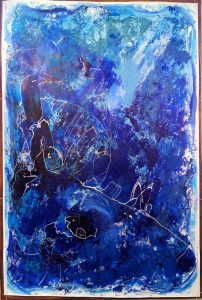Kim Okura BIG BLUE 2.30 x 1.55 meter, object painting, cycle Trophaeen