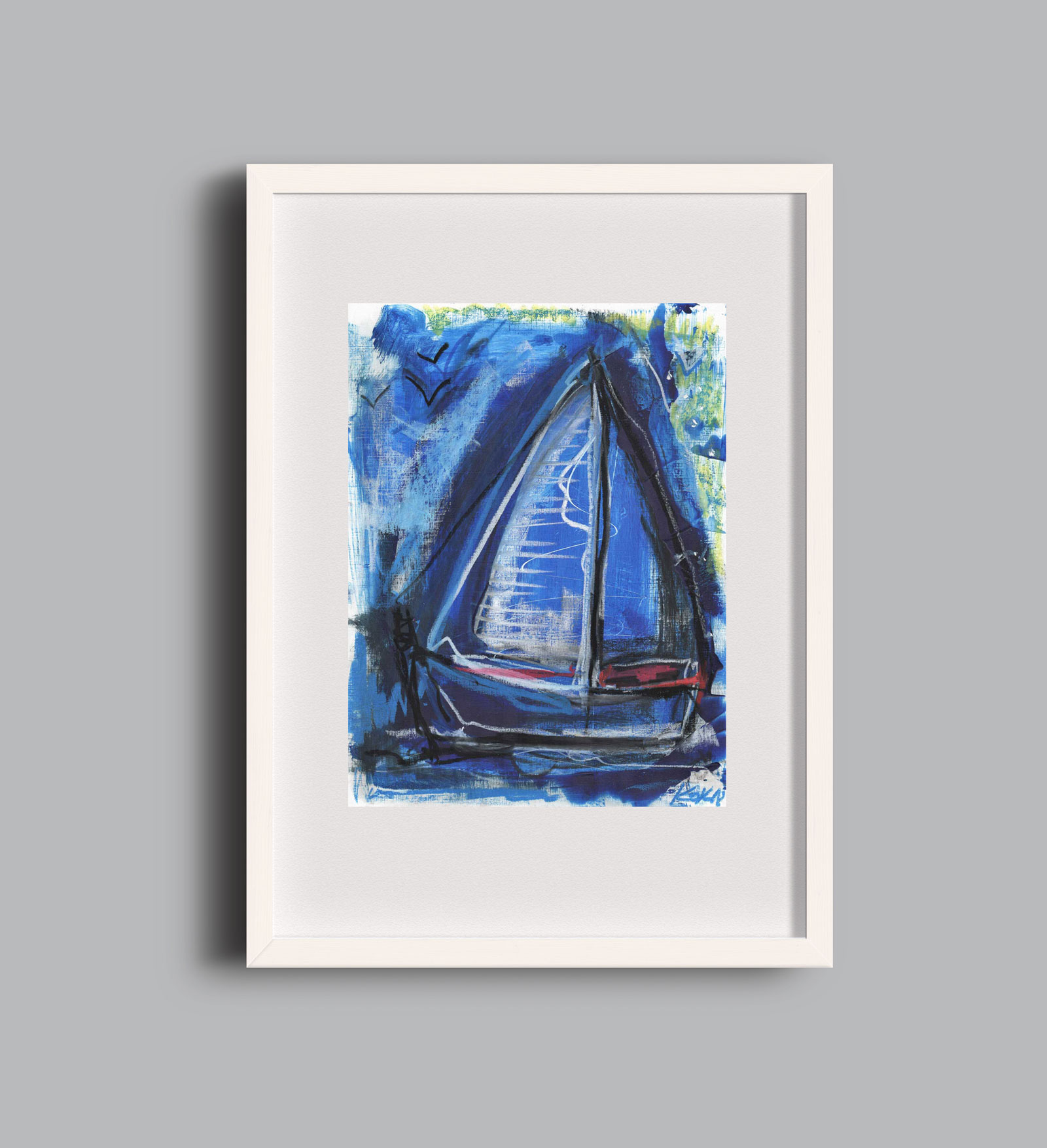Birds and Boats blue A2 framed KOK