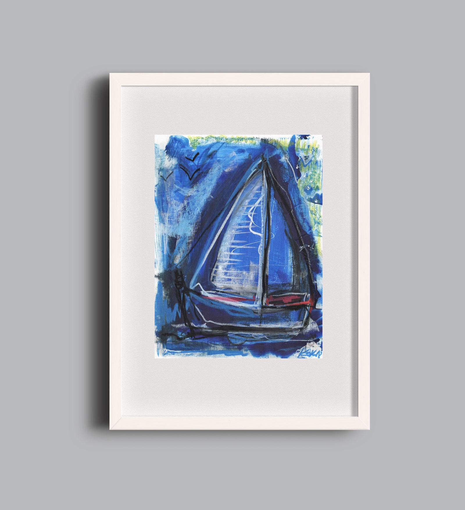 Birds and Boats blue A2 framed KOK