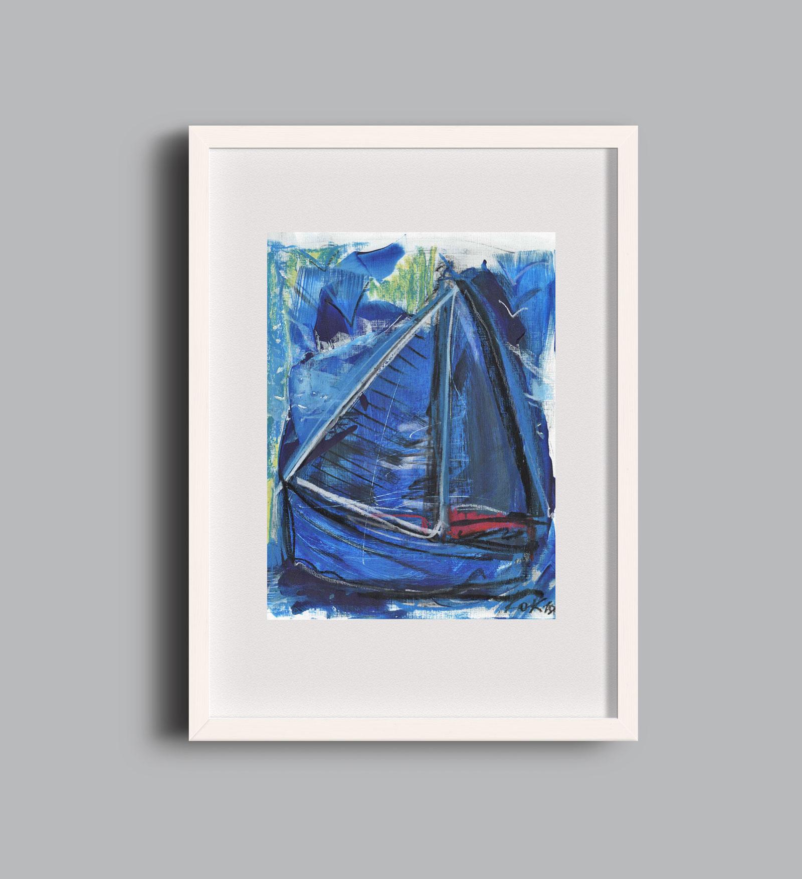 Birds and Boats blue A2 framed Kim Okura