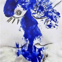 Blue Beauty Kim Okura Art on Paper, Mixed Media KOKVIE