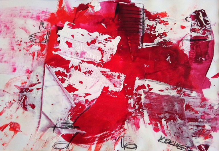 DANCING RED CROSS if god is painting, Mischtechnik auf Papier Kim Okura