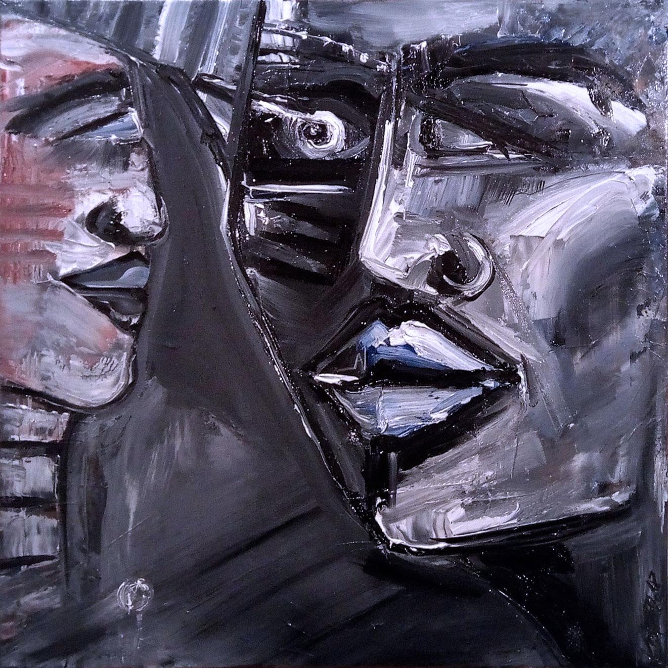 Der Schlaf der Vernunft gebiert in Stein gemeißelte Ungeheuer, Kim Okura 2018 Öl auf Leinwand