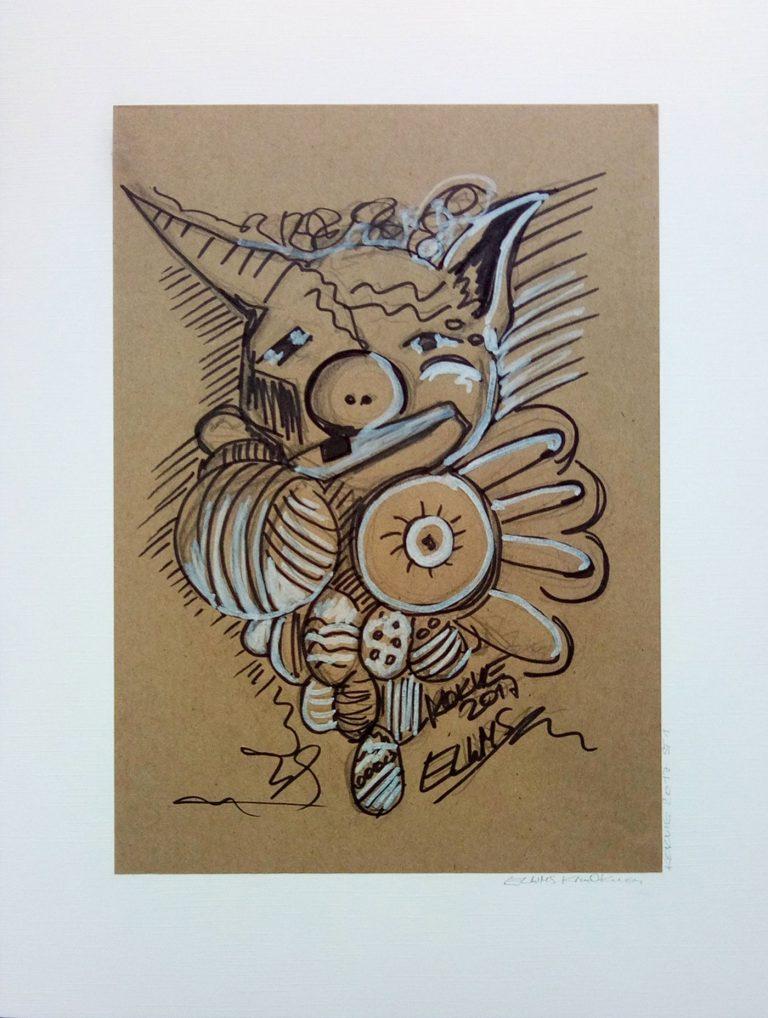 ELWMS Kim Okura Studie 1 Marker auf grey brown paper
