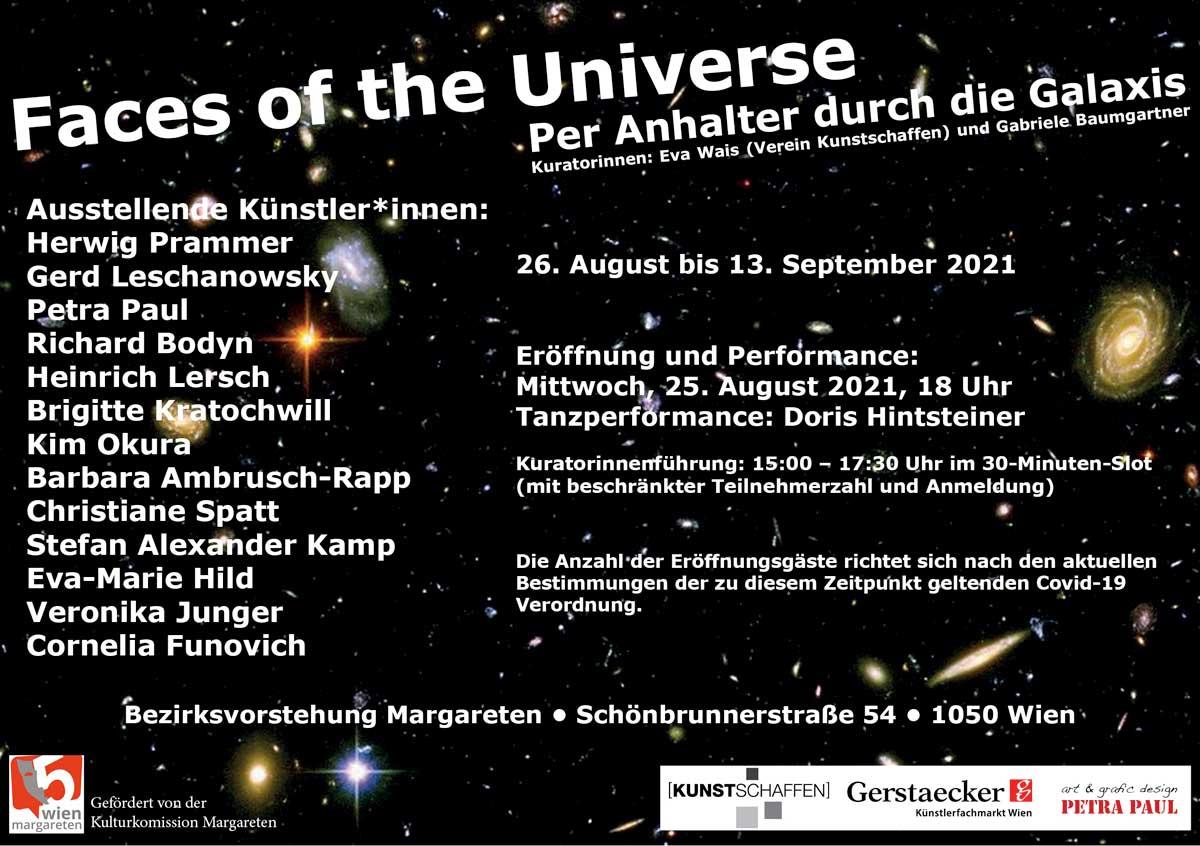 Exhibition Flyer - Faces of the Universe - Group Exhibition - Kim Okura – Ausstellung 2021 Per Anhalter durch die Galaxis kuratiert von Gabriele Baumgartner und Eva Wais