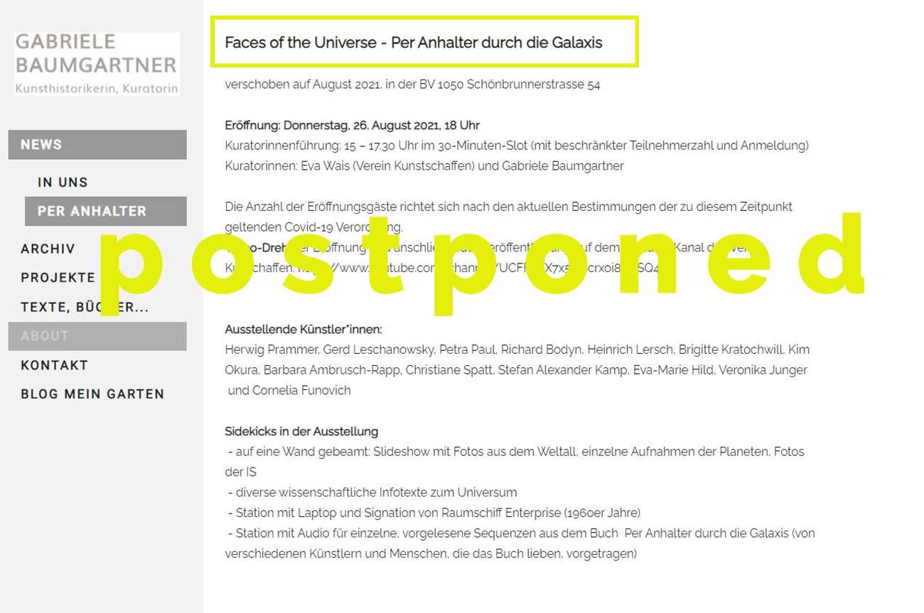Pre Info Ausstellung, Kim Okura - Faces of the Universe - Per Anhalter durch die Galaxis