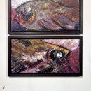 Oil Malerei zwei Stück Fisch bunt und pastos Kim Okura