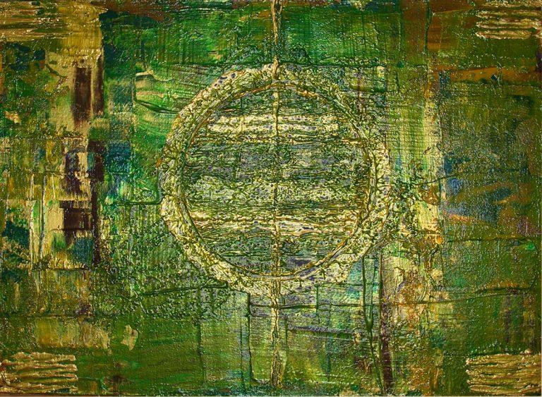 GREEN acrylic on masonite 21x30cm Kim Okura 2010