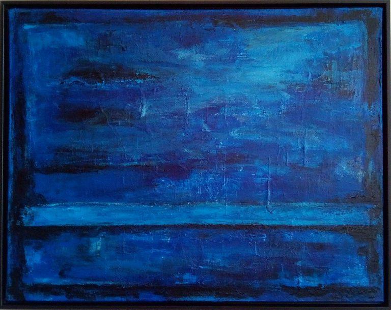 Blue Painting HEAVEN BRIDGE mixed media on canvas artist Kim Okura
