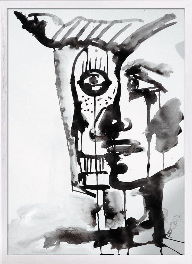 Tinte auf Karton-Papier Gesicht Kim Okura Faustus Faces India Ink KOK 2017