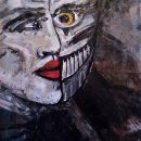 Artwork Jack-In-The-Box doppel Gesicht mit Horn und gelben Auge Zyklus FAUSTUS FACES Artist Kim Okura