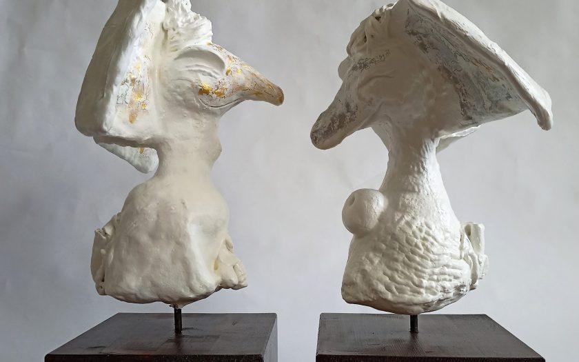 Joy and Joyo neosacral sculptures couple