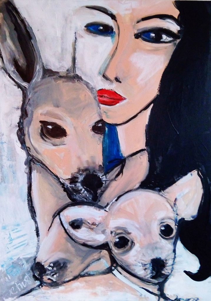 Junge Frau mit Tieren - Dina - Kim Okura