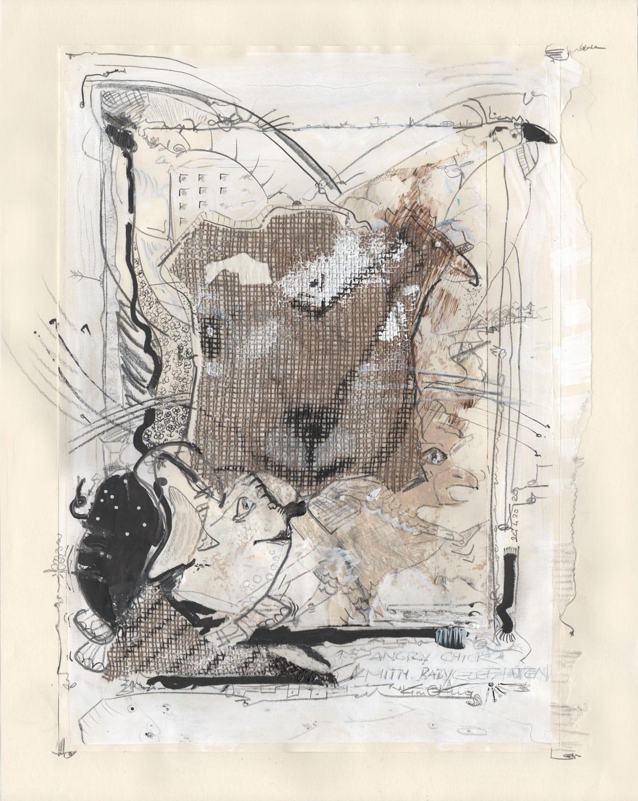 Kim Okura - Angry Chick Mitm Baby Elefanten -Jutte Okuraee auf Japanpapier