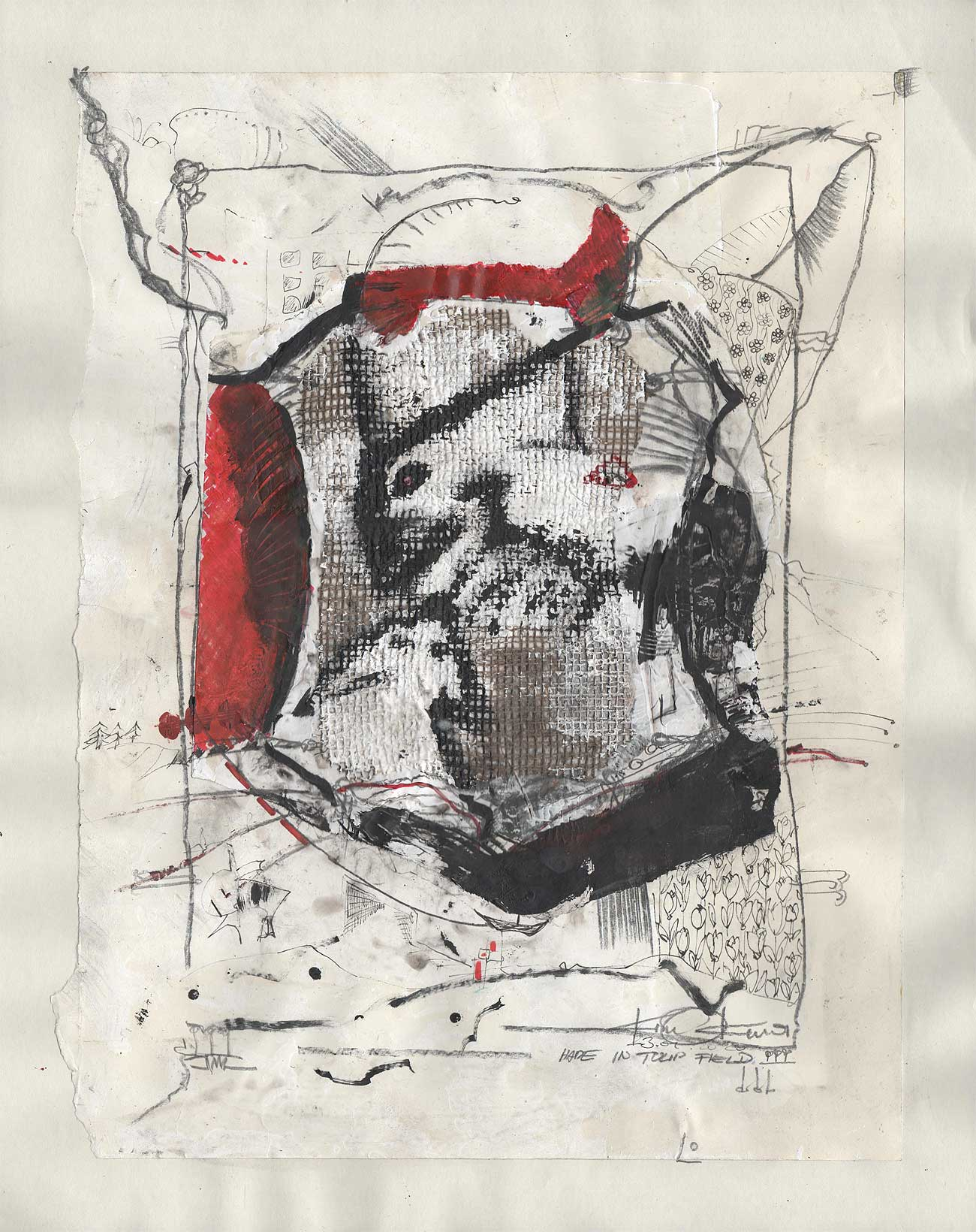 Hare In Tulip Field - Kim Okura Artwork, Drawinmg red, black, oil base pen, marker aso on japanese paper
