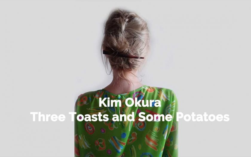 Kim Okura in a grassgreen givenchy blouse from verso, flyer for Toasts and Some Potatoes