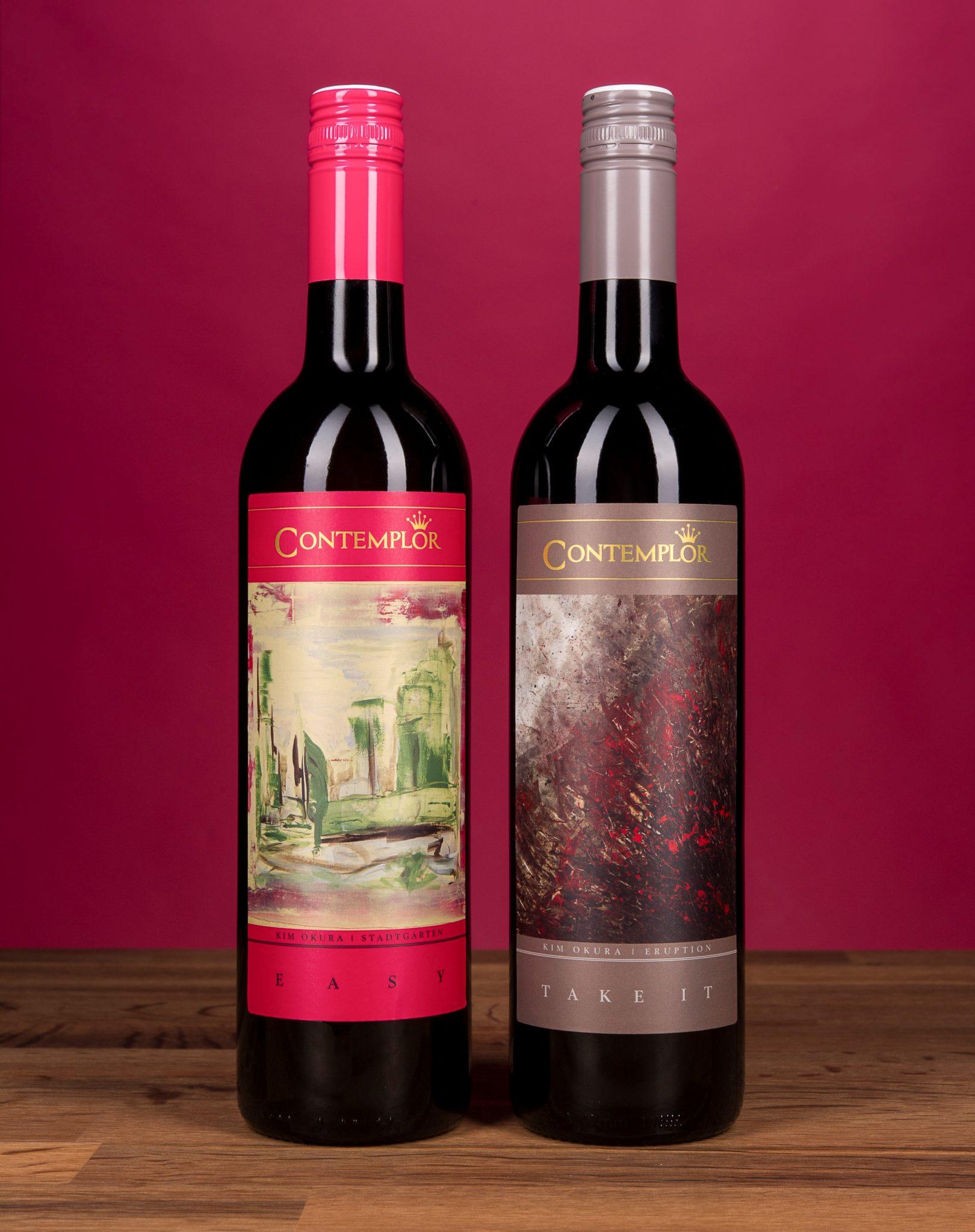 Zwei Kim Okura Gemälde zieren die Tinhof Weinetiketten