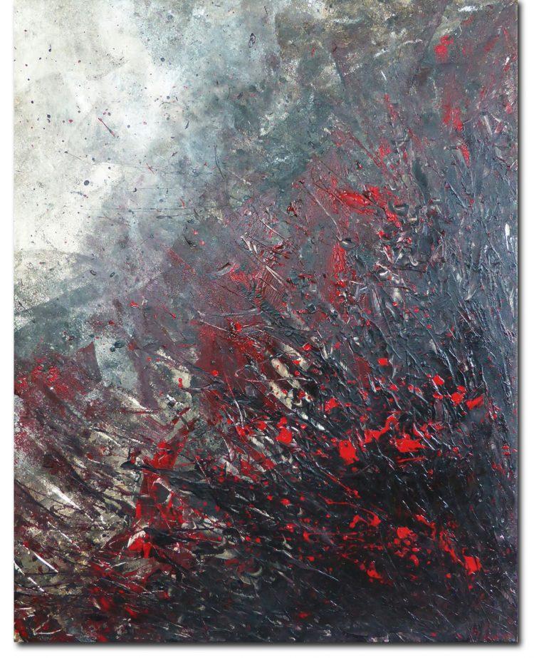 Kim Okura Malerei rot informel Bild Eruption