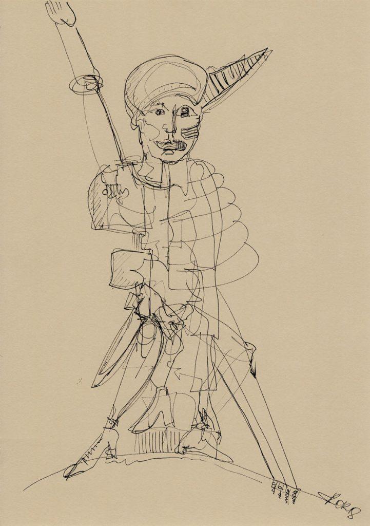 Marterpfahl 02 Kim Okura in k drawing on paper a3