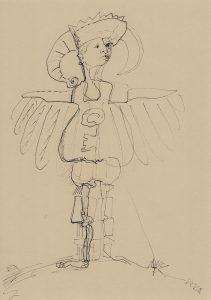 Marterpfahl, Kim Okura 2018 ink drawing on paper