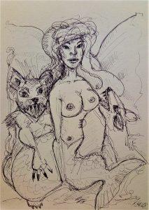 Drawing Melusine und die Höllenhunde Kim Okura 2018 for Olivia Rothauer