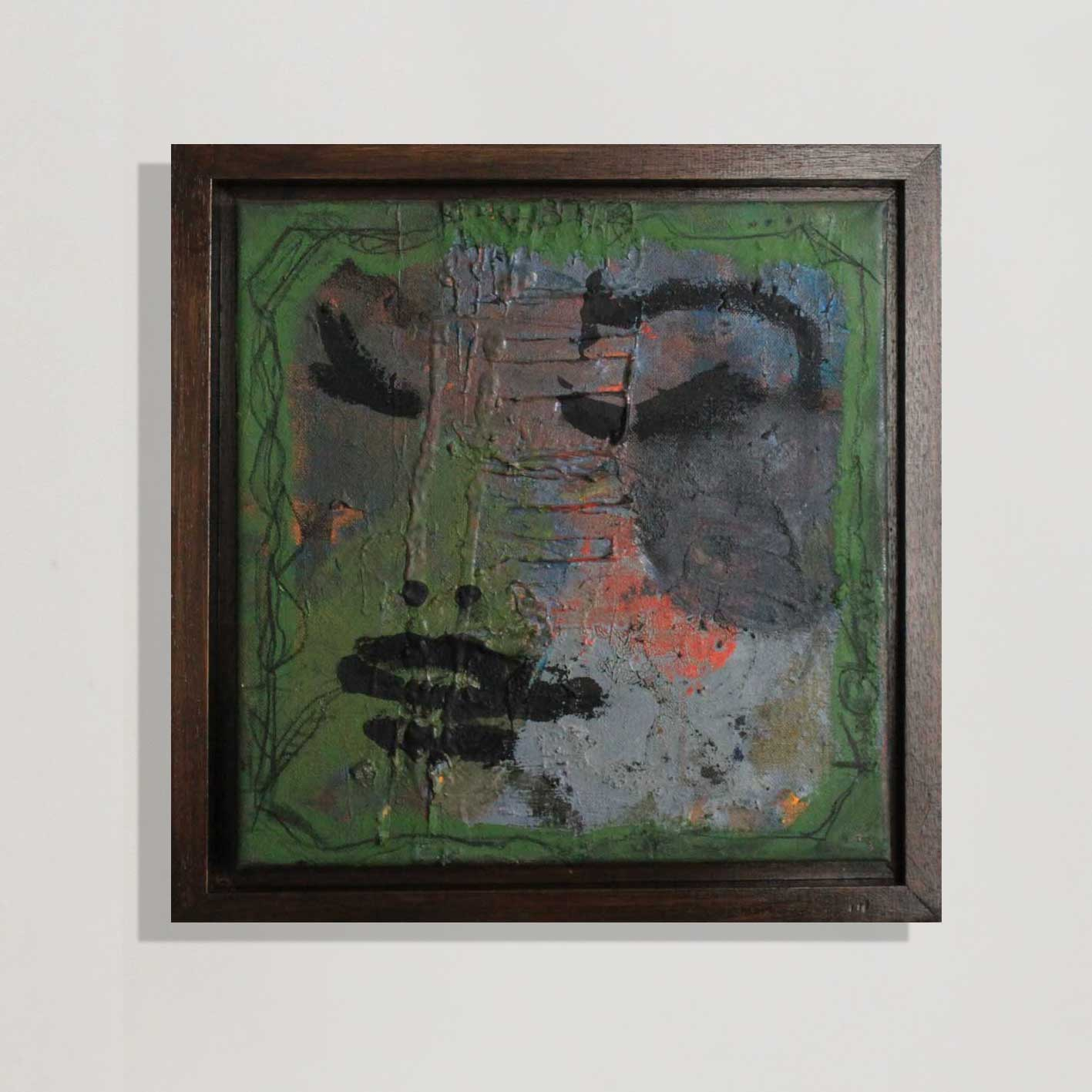 Nymphe, green blue oilpainting, framed, dark walnut - Kim Okura