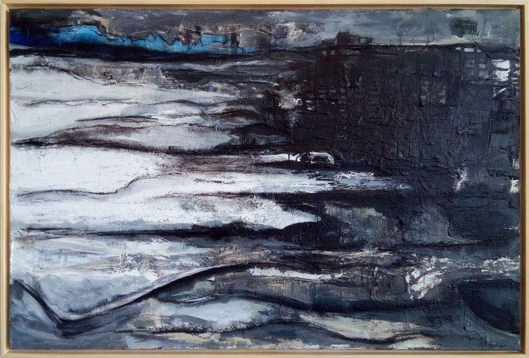 SILENCE 2018 Kim Okura framed, wood natur, 83 x 124 cm cycle quantum monochrome