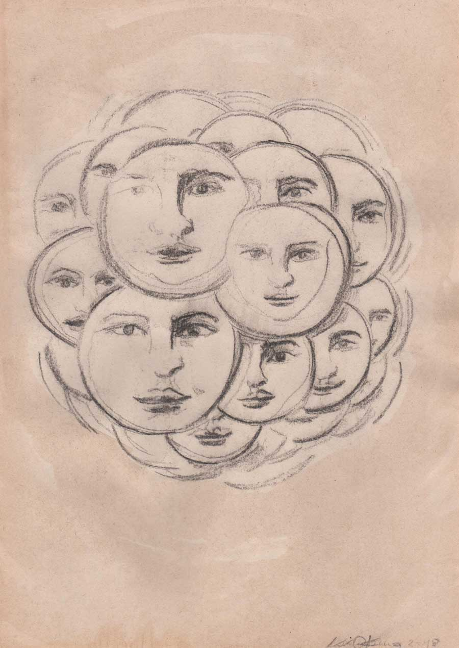 Souls charcoal drawing Kim Okura