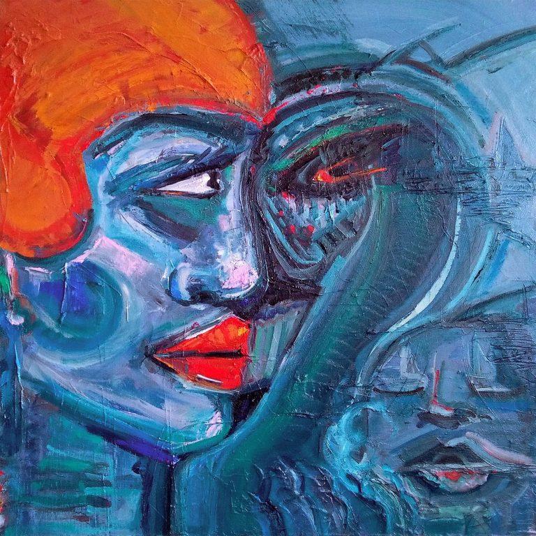 UNTITLED july 2018 DIE ROTE BADEHAUBE Kim Okura kim okura 2018 oil on canvas 31.50 x 31.50 x 1.85 inch or 80 x 80 x 4.7 cm