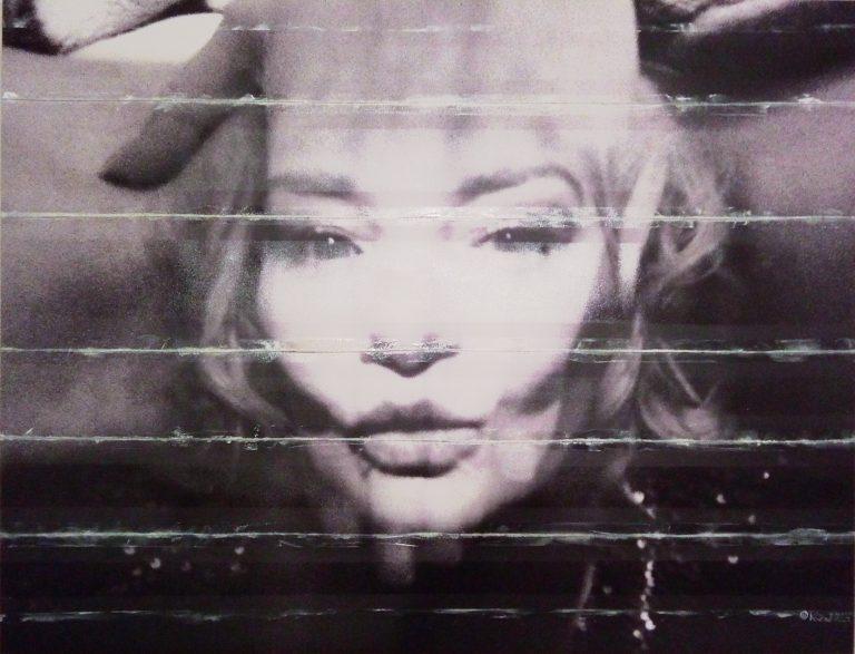 Vintage Glamour oil on 4C canvas self-portrait collage Kim Okura