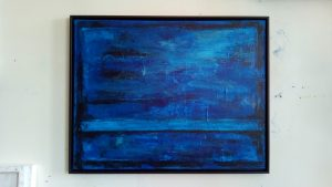 Heaven Bridge atelier view Kim Okura 2018 blue painting, framed with Guggenheim