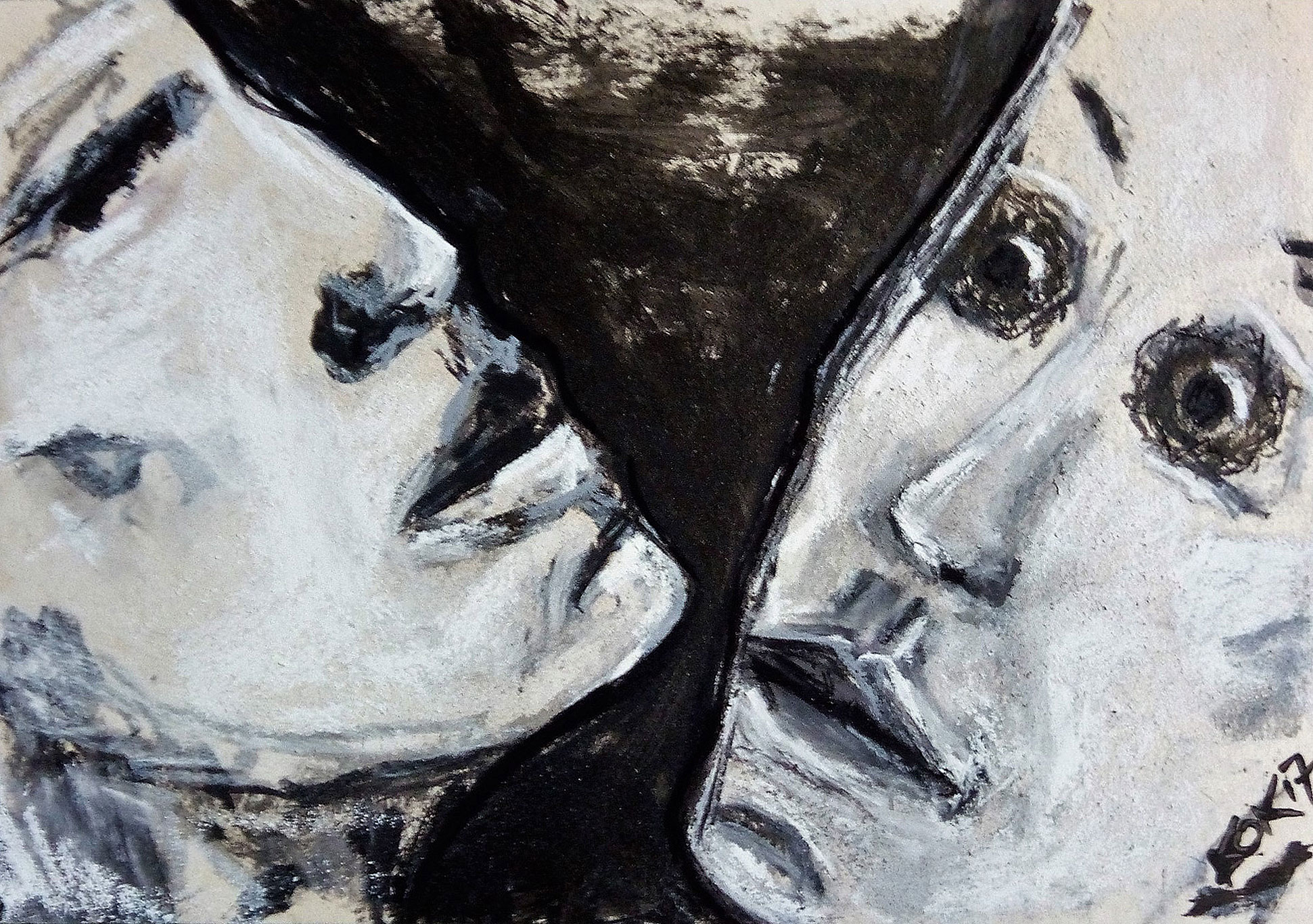 artwork, Consideration, tempera and crayon on cardboard